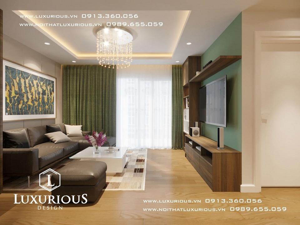 Thiết kế nội thất phòng khách chung cư The Garden Hill