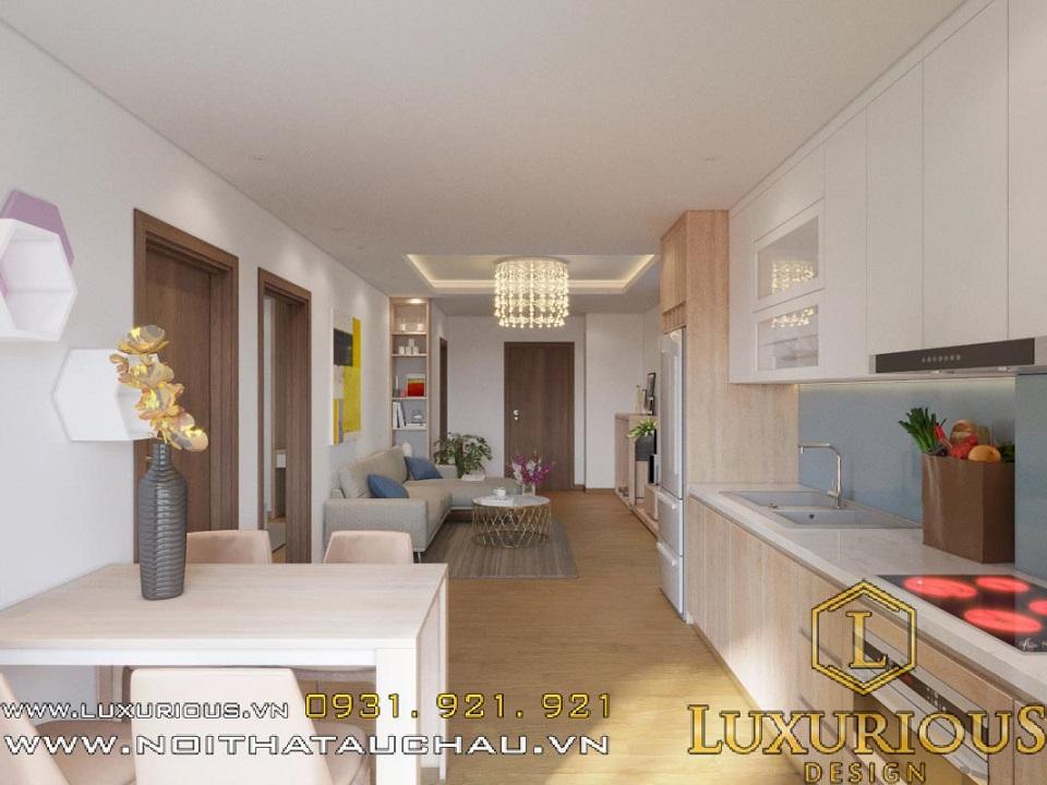 Thiết kế nội thất nhà bếp chung cư Hateco