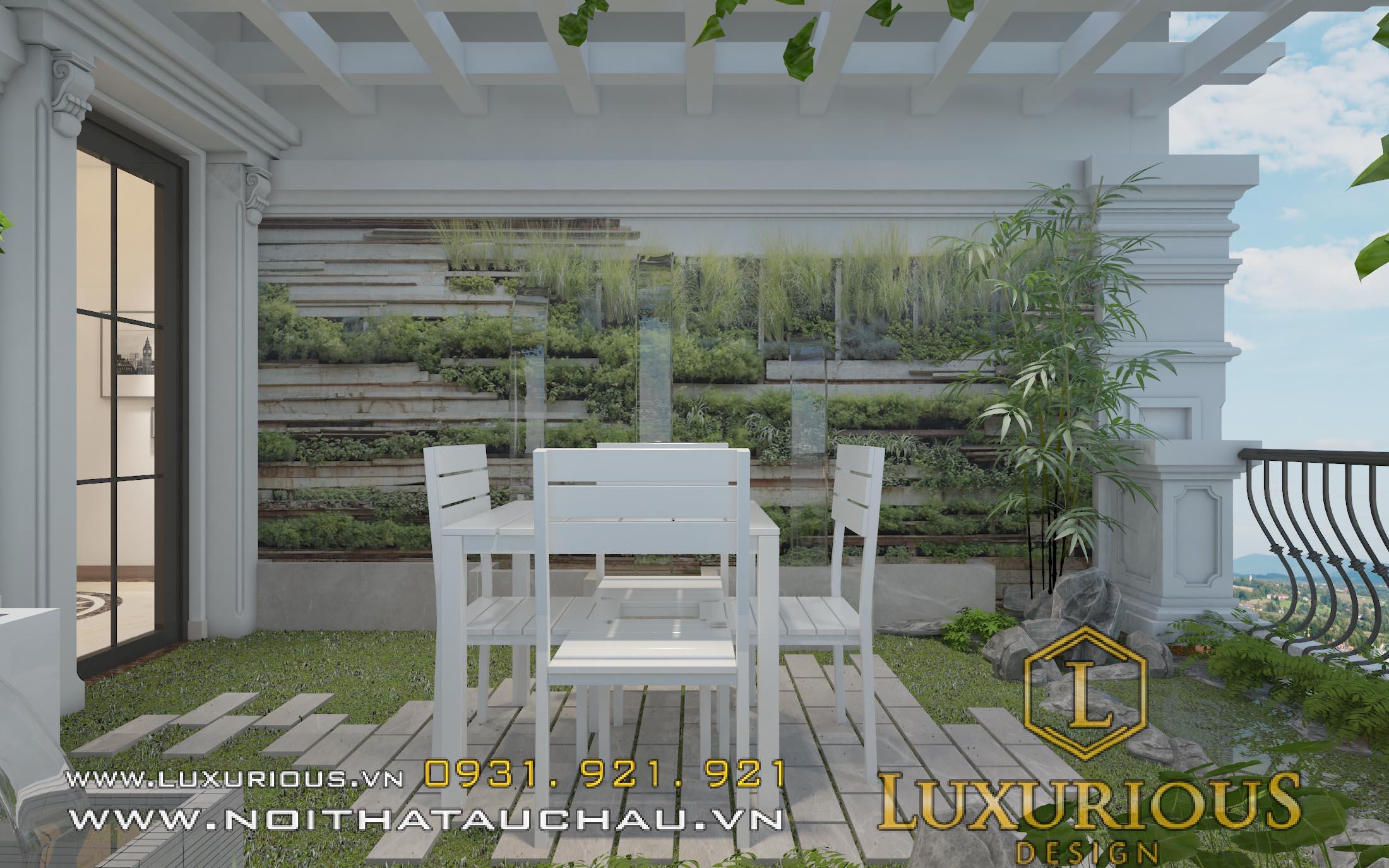 thiết kế không gian sân vườn nhà lô phố thư giãn