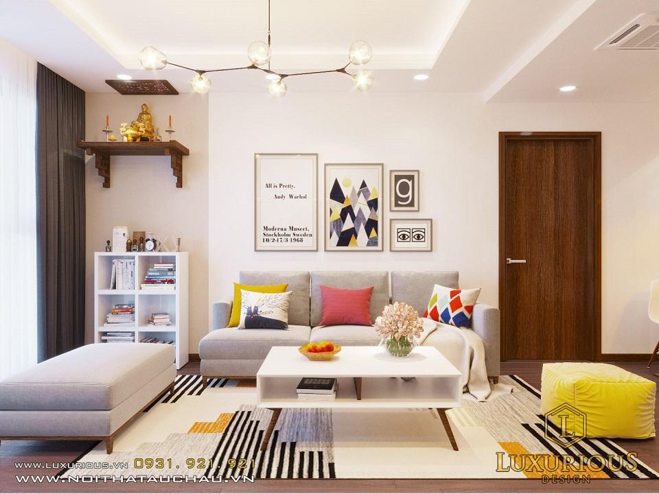 Thiết kế nội thất phòng khách chung cư 2 phòng ngủ