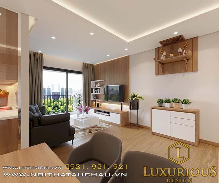 Mẫu thiết kế phòng khách chung cư mini 40m2