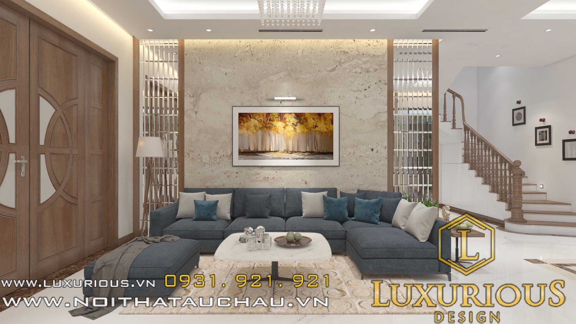Mẫu thiết kế nội thất phòng khách nhà lô phố mặt tiền 5m