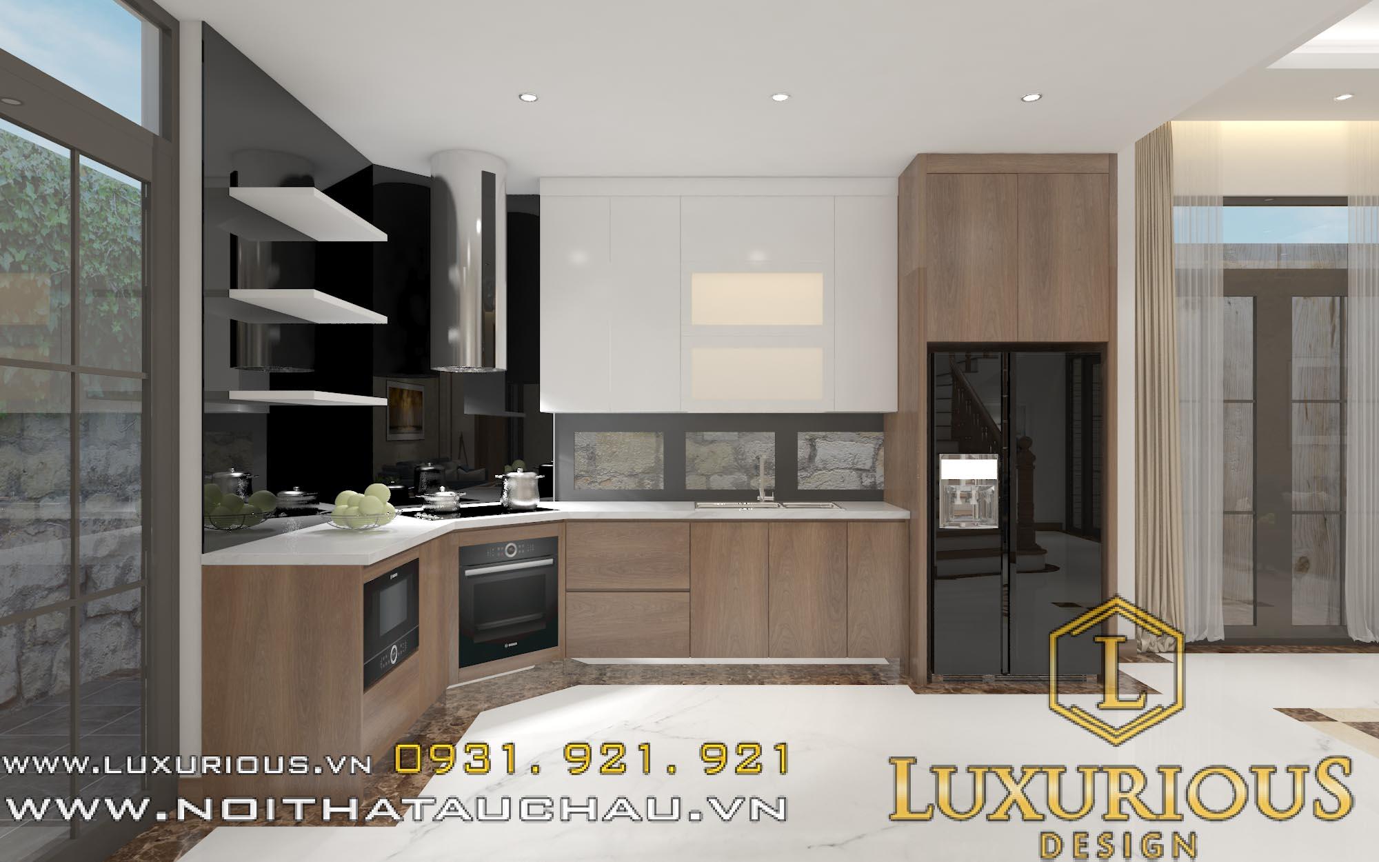 thiết kế nội thất phòng bếp nhà lô phố mặt tiền 5m