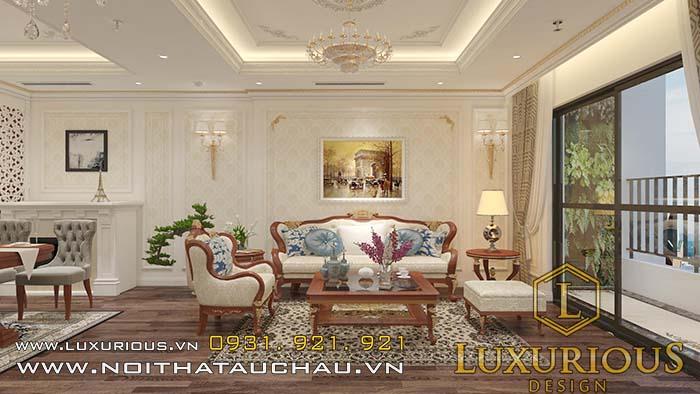 Thiết kế nội thất phòng khách chung cư cao cấp nội thất gỗ