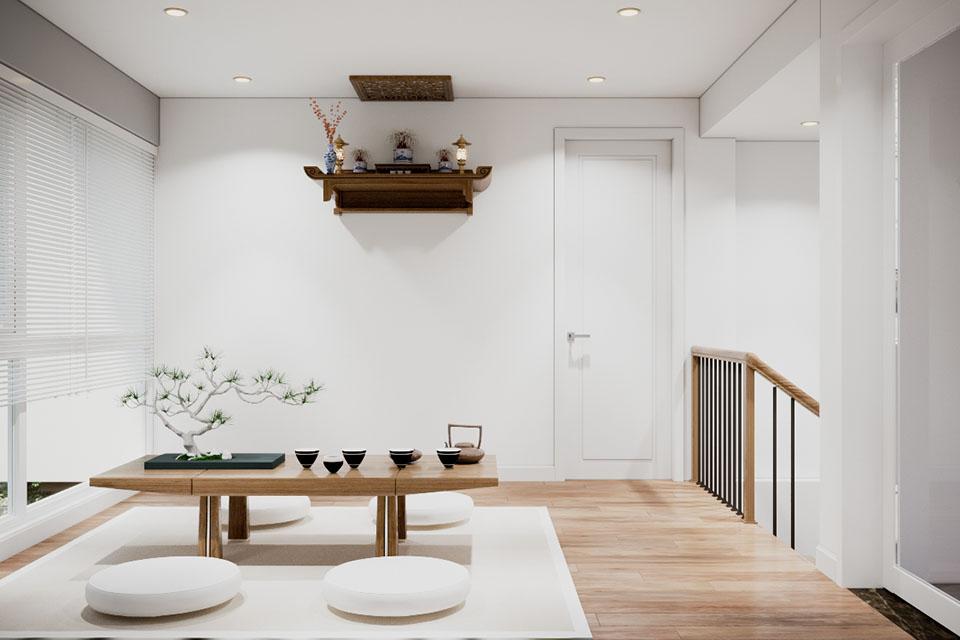 Thiết kế phòng trà biệt thự ecopark vườn tùng