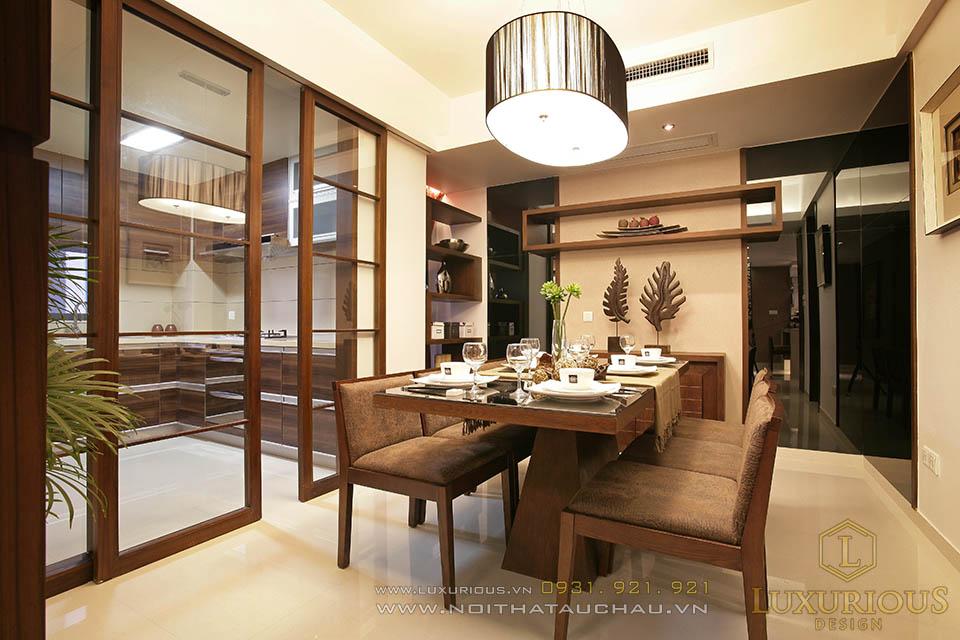 Thiết kế thi công nội thất phòng ăn chung cư diện tích 90m2