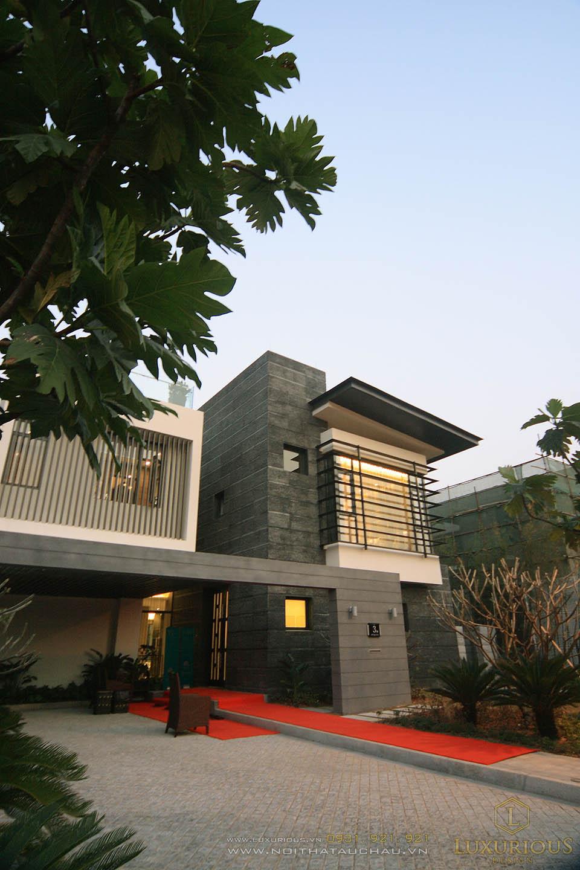 thiết kế thi công nội thất nhà phố 2 tầng hiện đại, sang trọng