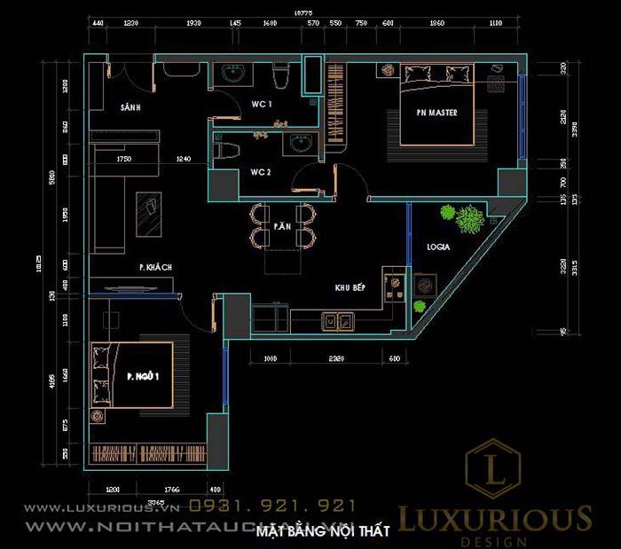 Mặt bằng thiết kế chung cư 70m2