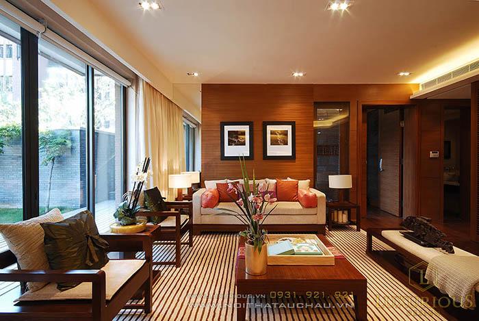Mẫu phòng khách mộc mạc