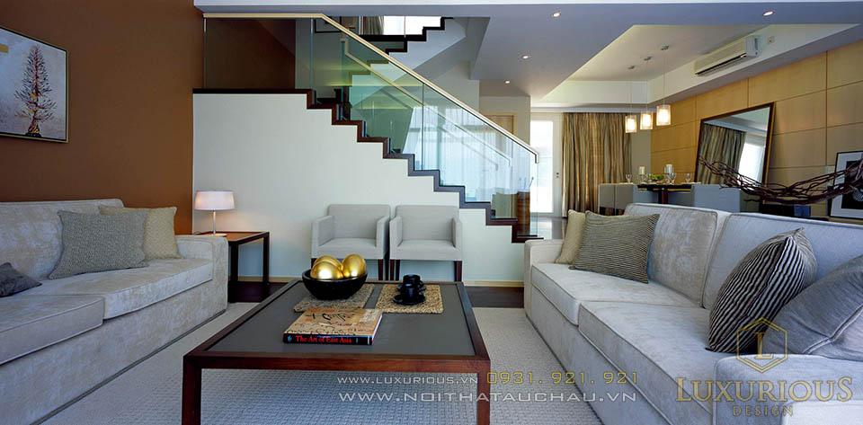 Thiết kế thi công nội thất phòng khách biệt thự hiện đại