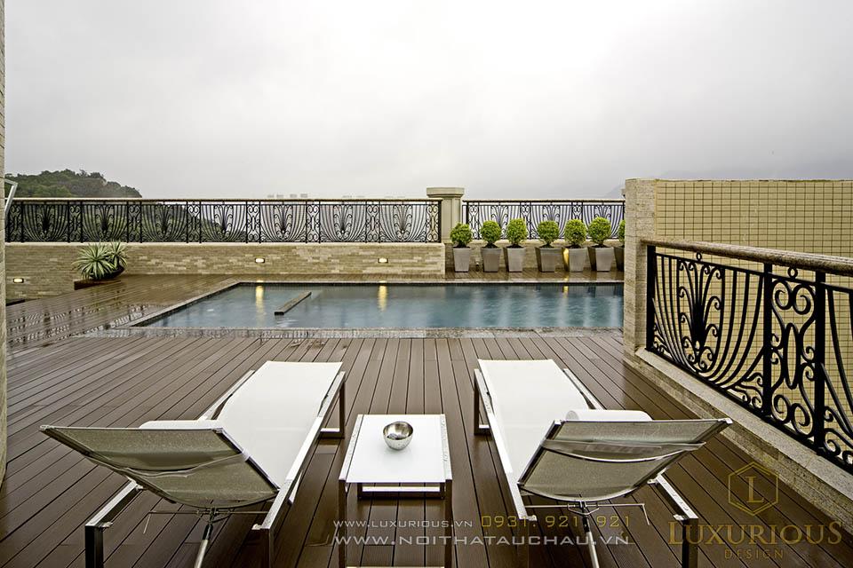 Thiết kế thi công nội thất bể bơi ngay trên tầng thượng