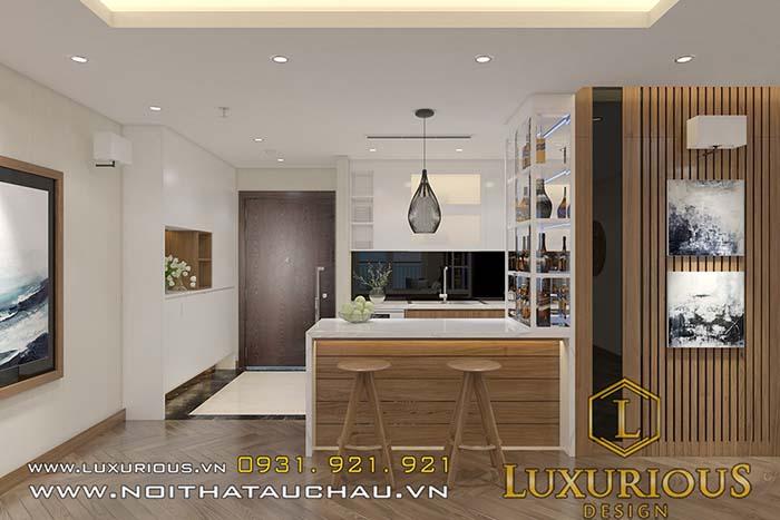 Thiết kế chung cư 70m2 bếp có bàn đảo