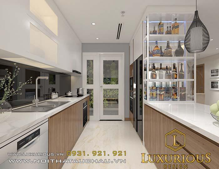 Thiết kế chung cư 70m2 phòng bếp