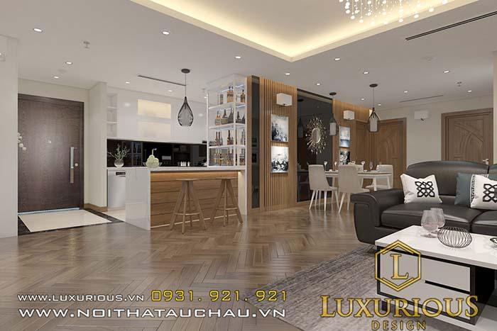 Thiết kế chung cư 70m2 phòng khách liền bếp