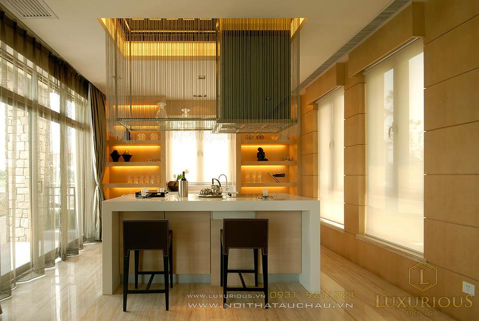 Thi công nội thất phòng bếp nhà biệt thự hiện đại
