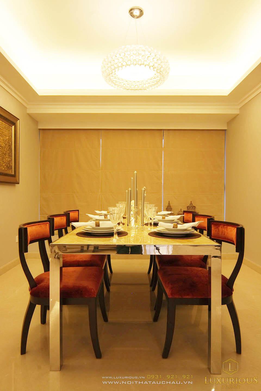Thi công nội thất phòng ăn chung cư cao cấp diện tích 130m2