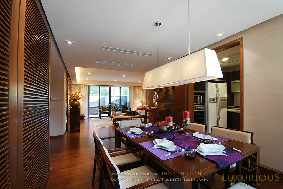 Thiết kế nội thất phòng ăn nhà biệt thự 2 tầng đẹp
