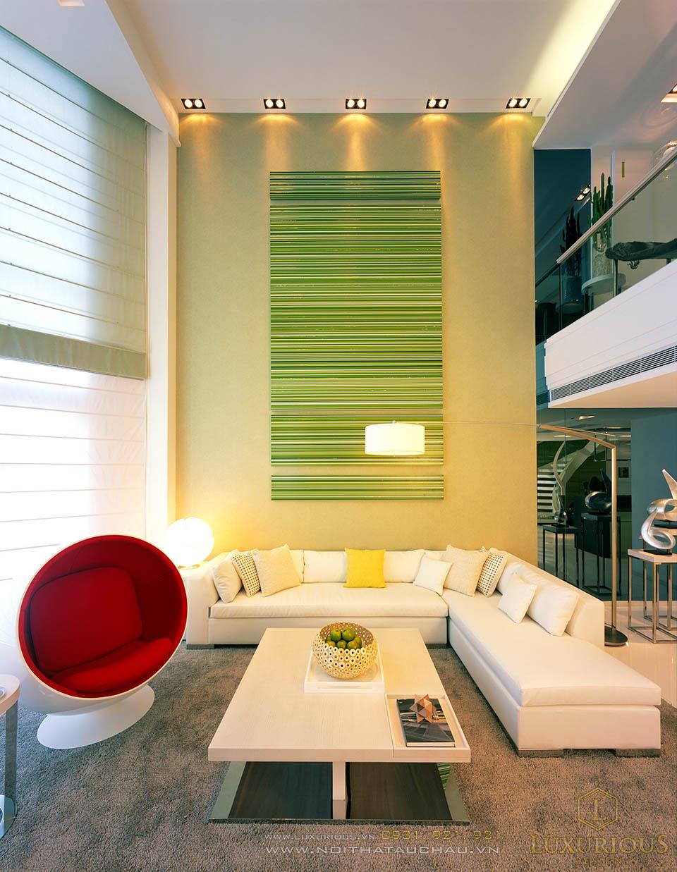 Phòng khách chung cư Penthouses hiện đại nhẹ nhàng thư giãn