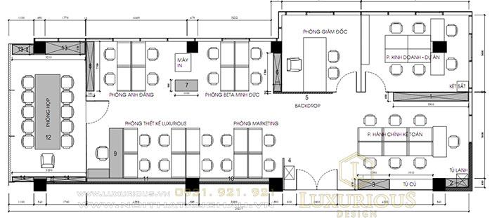 Bản vẽ thiết kế 2D văn phòng Luxurious Design