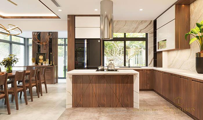 Đảo bếp kết hợp bàn ăn biệt thự hiện đại