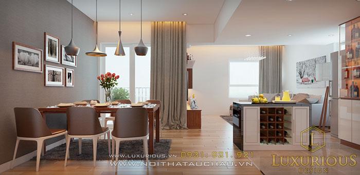 Đảo bếp liền bàn ăn nhà chung cư hiện đại