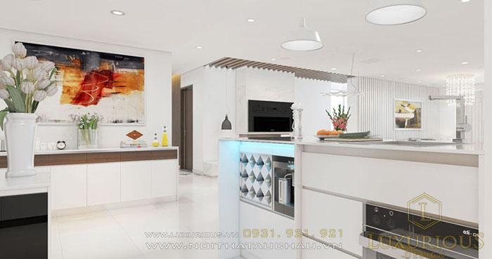 Mẫu bàn bếp cho nhà chung cư hiện đại