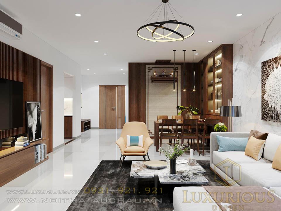 Mẫu thiết kế nội thất phòng khách chung cư Ciputra