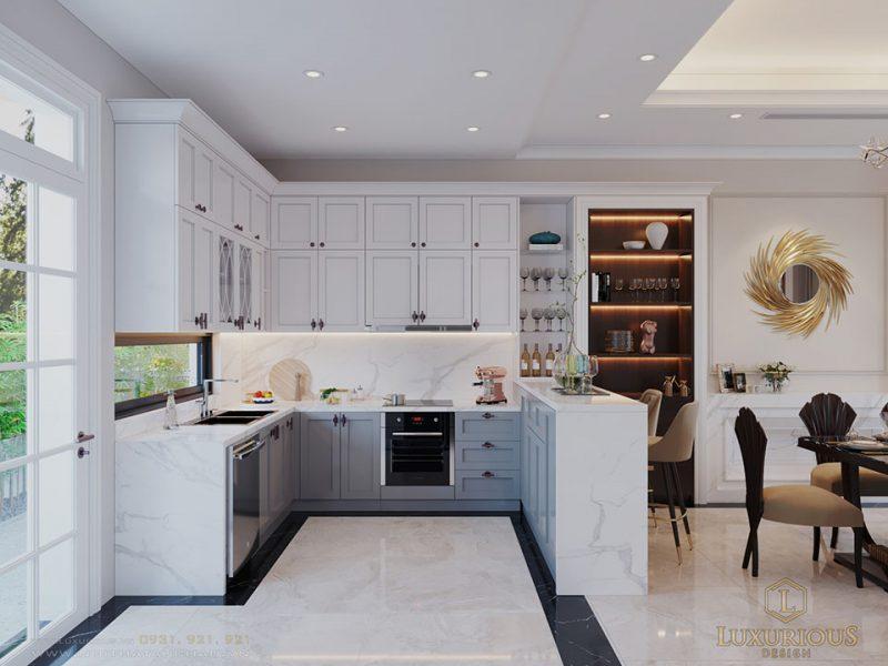 Ảnh thiết kế phòng bếp biệt thự màu trắng đẹp