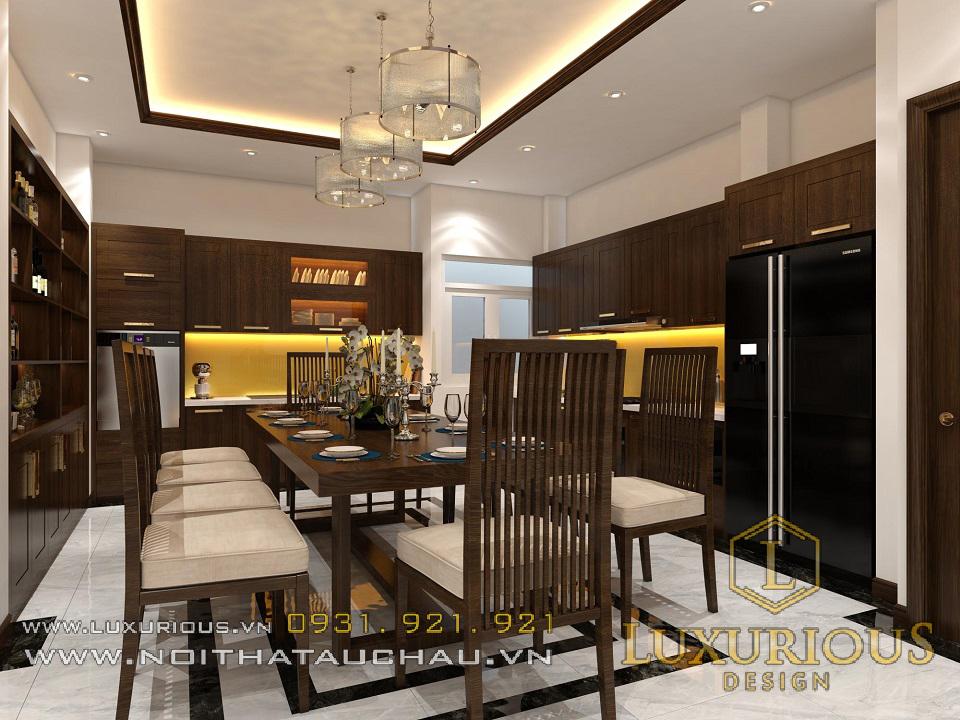 Mẫu thiết kế nội thất phòng bếp nhà phố 100m2