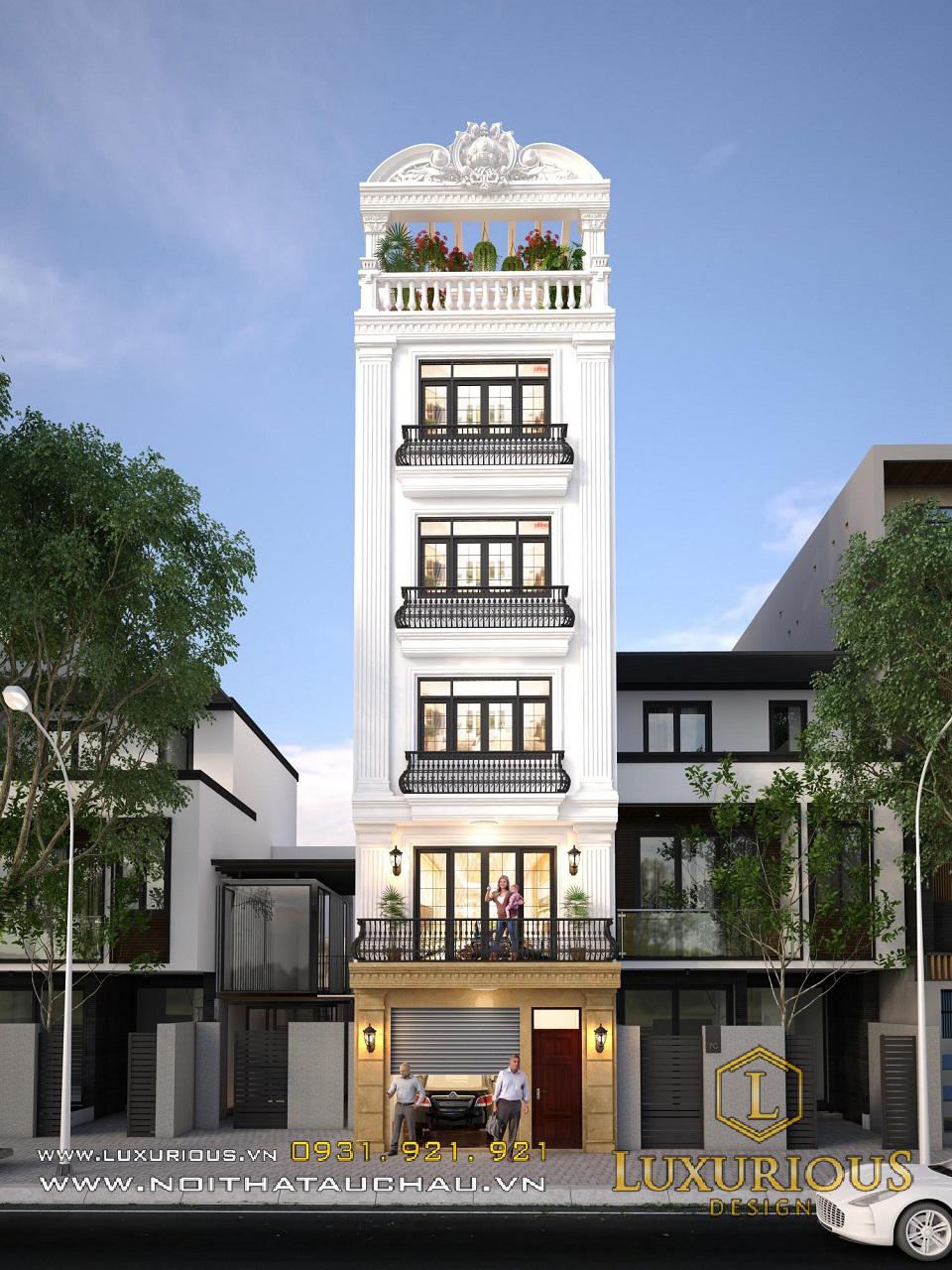 Kiến trúc nội thất nhà phố 5x20m 5 tầng nhà anh Vinh