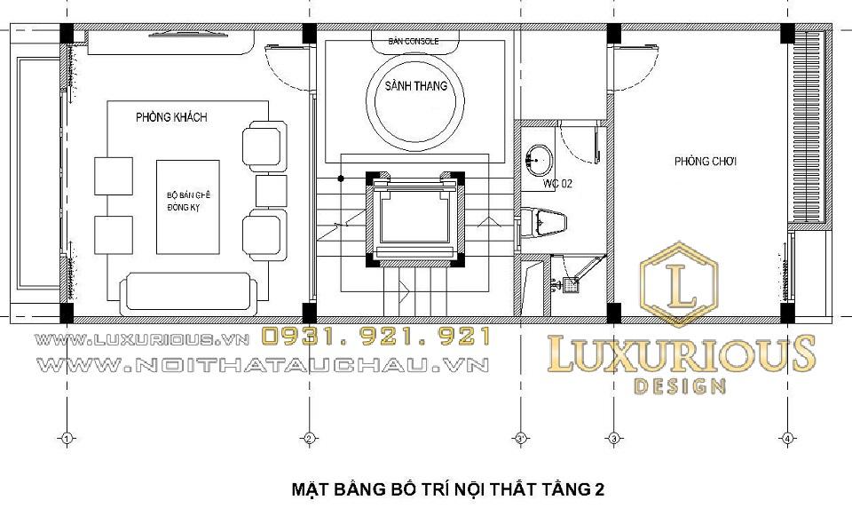 Mặt bằng bố trí nội thất tầng 2 nhà phố 100m2 5 tầng