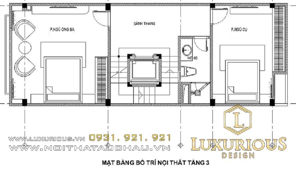 Thiết kế nhà diện tích 5x20m tầng 3