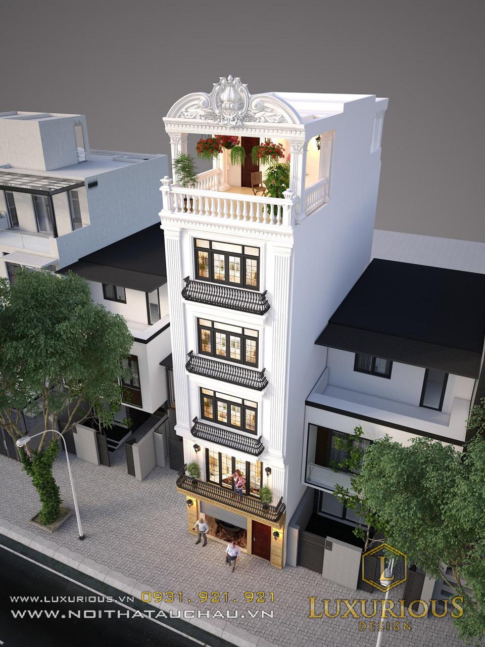 Mẫu thiết kế nội thất nhà phố 100m2 5 tầng hiện đại