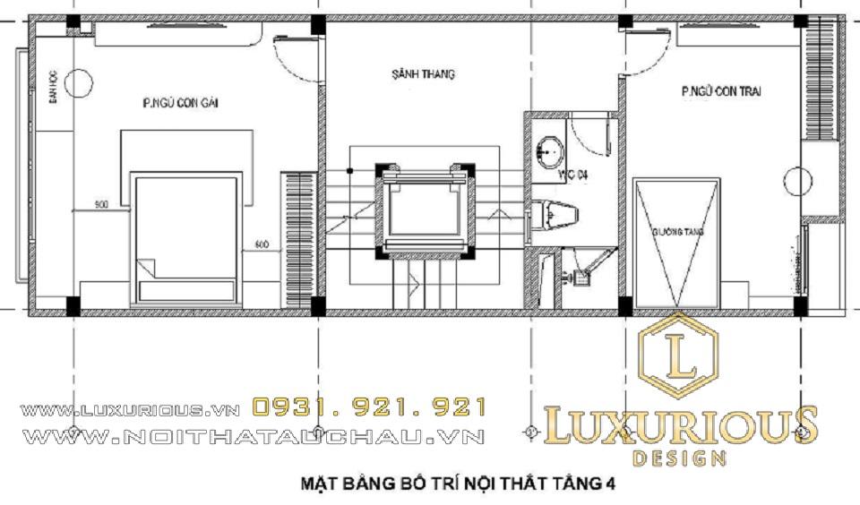 Mặt bằng bố trí nội thất tầng 4 nhà phố 5x20m