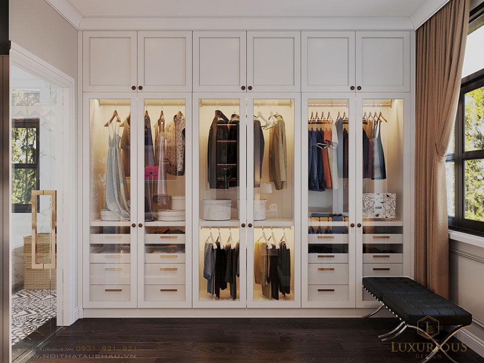 Mẫu tủ quần áo màu trắng cánh kính đẹp
