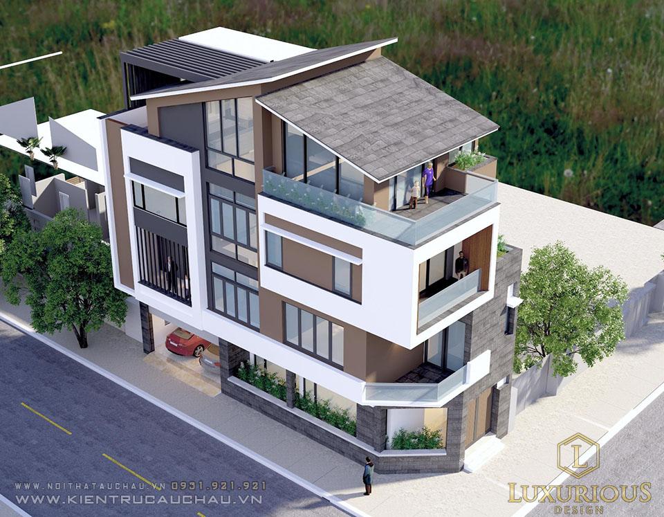 Phối cảnh kiến trúc biệt thự 4 tầng