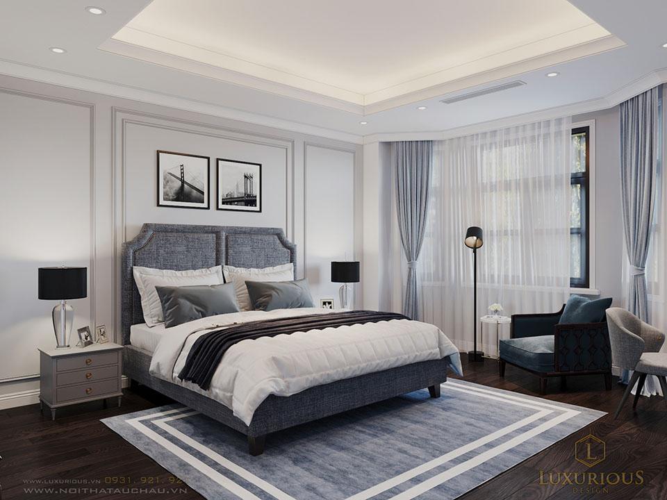 Phòng ngủ biệt thự đẹp màu lạnh