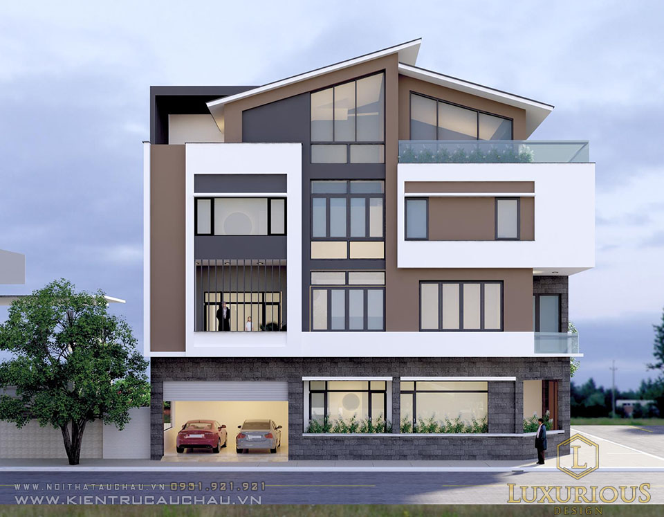 Thiết kế kiến trúc biệt thự nhà phố 4 tầng