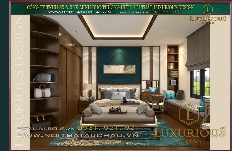 Phòng ngủ master nhà phố 5 tầng mặt tiền 5m