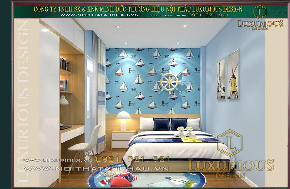 Mẫu thiết kế nội thất phòng ngủ con trai nhà phố 100m2