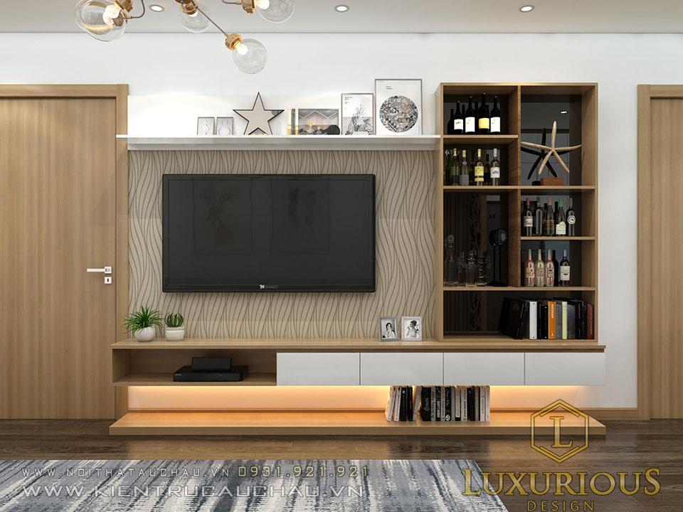 Mẫu nội thất phòng khách chung cư Sky Central 176 Định Công