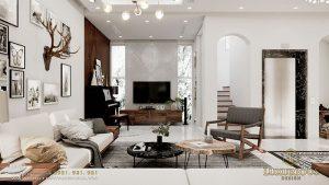 Nội thất phòng khách biệt thự phong cách Bắc Âu