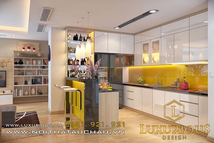 Phòng bếp gỗ công nghiệp Acrylic
