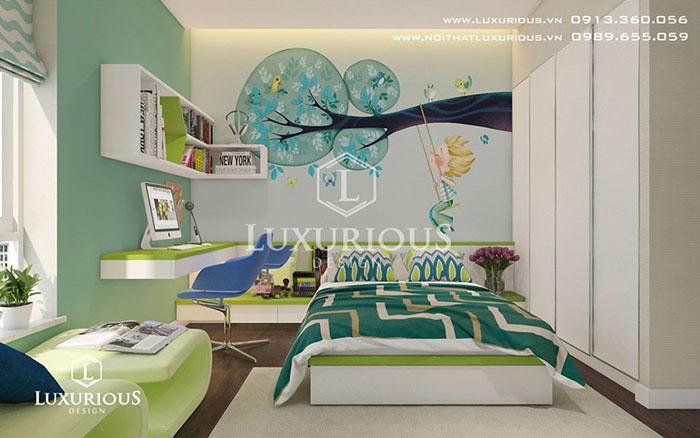 Thiết kế nội thất phòng ngủ con trai cho căn hộ 90m2 3 phòng ngủ