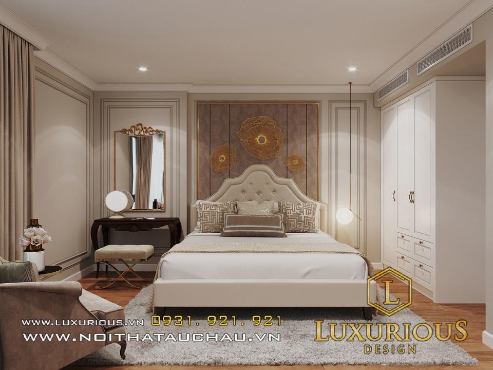 Thiết kế nội thất phòng ngủ căn hộ Rivera park tân cổ điển
