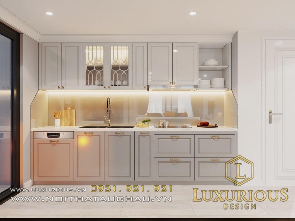 Tủ bếp chất liệu gỗ tự nhiên phủ sơn trắng mang đến một cái nhìn mới