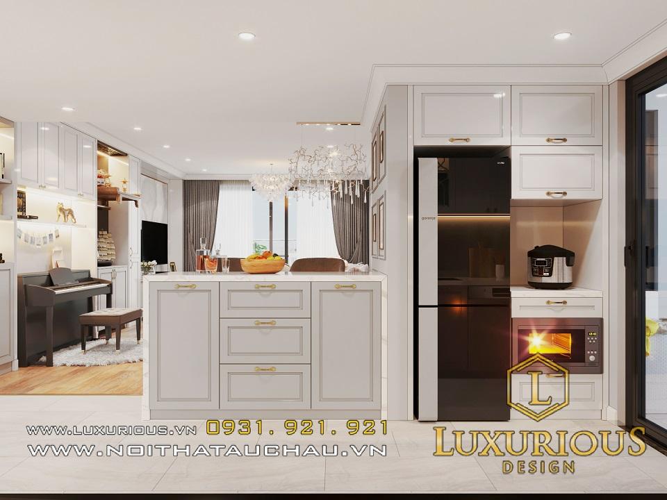 Phòng bếp hiện đại sang trọng với cách bố trí nội thất thông minh, khéo léo