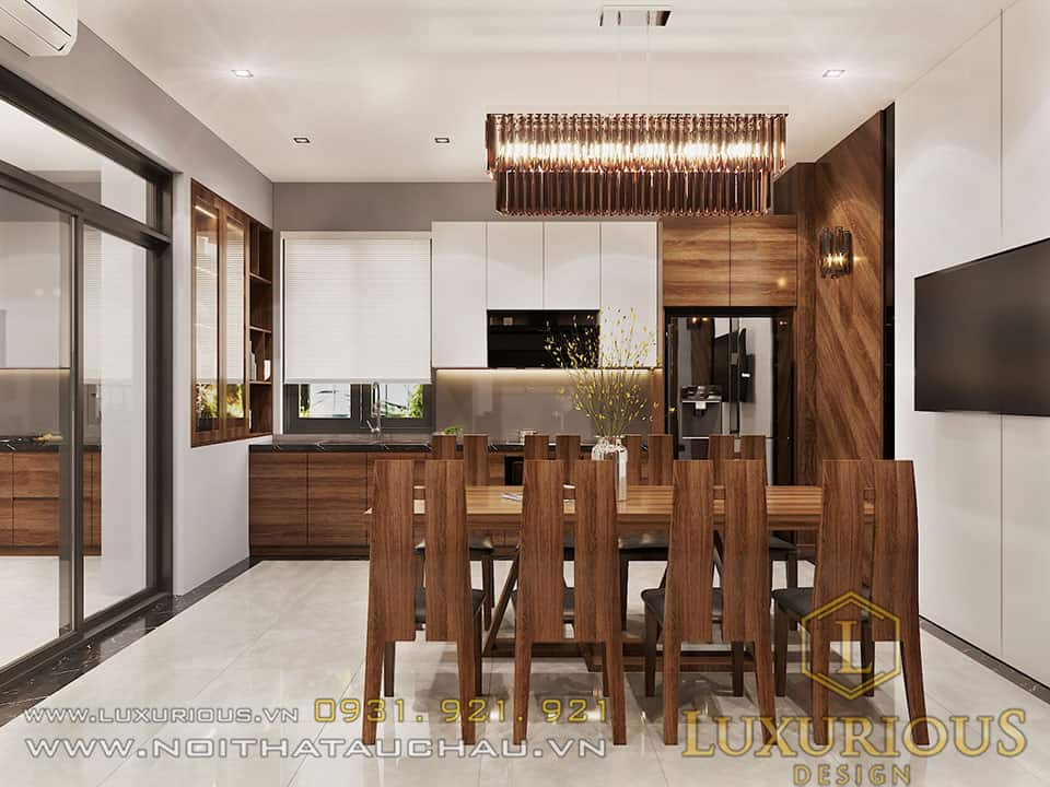 Bộ bàn ăn 8 người phòng bếp gỗ gõ