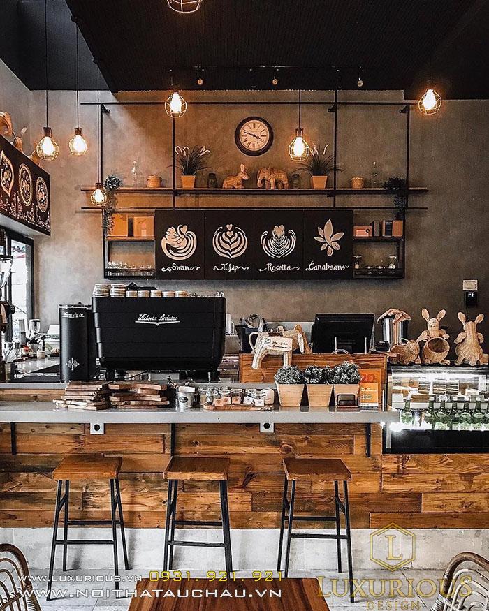 Mẫu quán Cafe Industrial hoài cổ