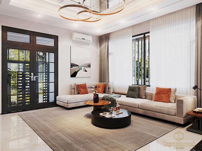 Phòng khách nhà phố 2 tầng 1 tum